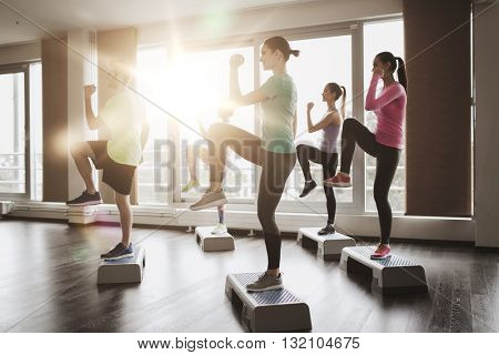 fitness, sport, training, aerobics and people concept - group of people working out with steppers in gym