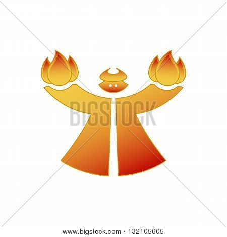 Red cartoon style devil holding fire vector illustration isolated on white background.