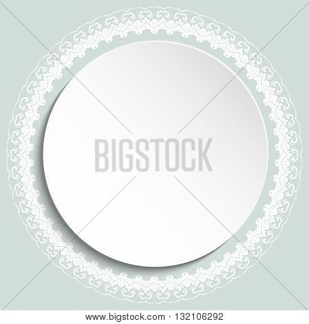Nice vector white frame with floral elements and arabesques. Fine greeting card