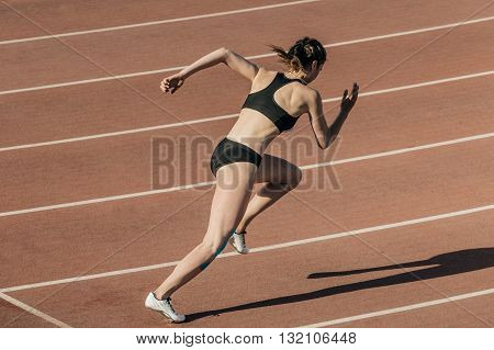 start girl athletes in stadium during competition