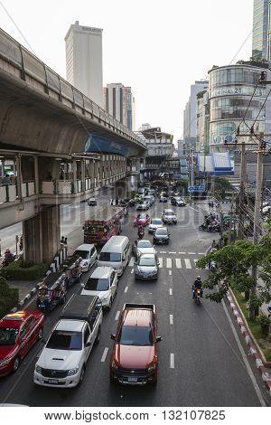 BANGKOK THAILAND - APR 29 : traffic on Sukhumvit road at Asoke junction on april 29 2016 thailand. traffic jam is one of worse issue of Bangkok