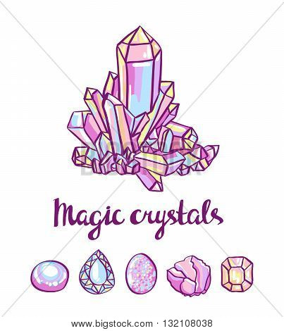 Magical crystals. Jeweler card. Vector hand-drawn illustration.