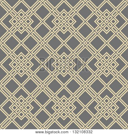 Geometric abstract vector background. Seamless modern pattern. Gray and golden pattern