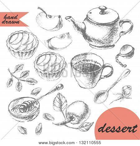 Hand drawn pencil sketch of tea and dessert. Teapot apple tarts tea cup spoon honey and apple.