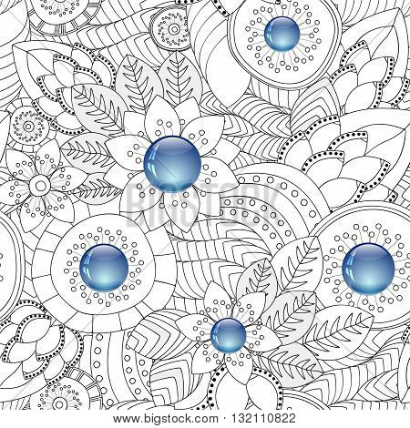 stock vector floral seamless doodle pattern. decorative element