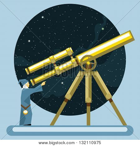 Ancient mag looking into a telescope and pointing with hand observing stars planets and galaxies. Digital vector image.