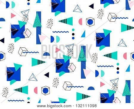 Seamless geometric pattern in retro 80's. Bright seamless triangles circles cubes for the cover fabric fashion fabric. Mempship style.