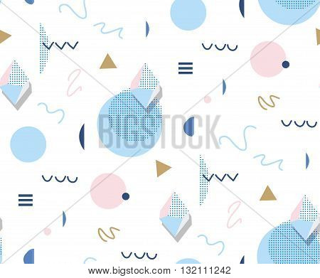Retro Memphis 80s or 90s style fashion abstract background seamless pattern. Golden triangles circles lines. Good for design textile fabric wrapping paper and wallpaper on the site.