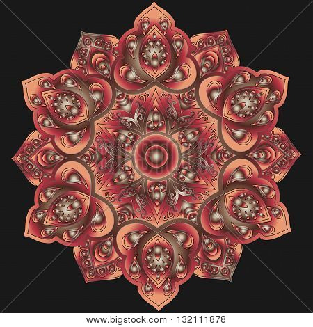 Mandala with gradient  from peach color, burgundy and brown colors on a black background