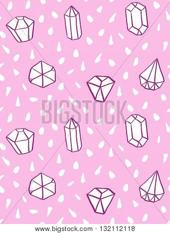 Hand drawn style seamless pattern with diamond shapes. Vintage abstract repeat pattern.