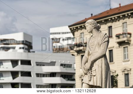 Statue of historic fountain at CItylife (Milan Lombardy Italy)