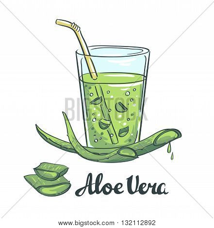 Slices of Aloe Vera in a glass. Healthy cocktail. Vector illustration.