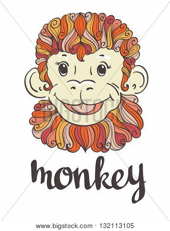 Vintage hand-drawn ornamental and decorative red monkey.