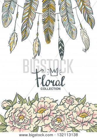 Vector boho floral wedding invitation. Pink peonies and feathers.