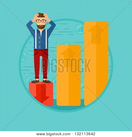 A frightened hipster bankrupt clutching his head. Bankrupt standing on chart going down. Concept of business bankruptcy. Vector flat design illustration in the circle isolated on background.