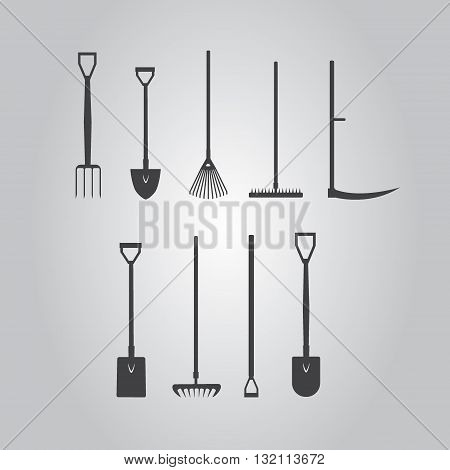 Set of  silhouette images stickers with garden tools. fork, spade, hoe, rake, lawn rake vector illustration.