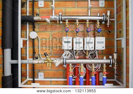 Electricity Meters With Pipes And Wires