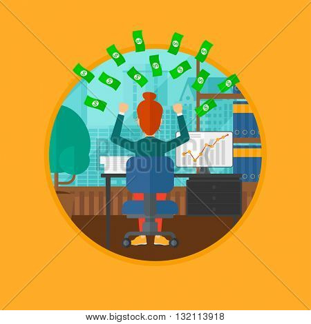 A successful business woman with raised hands sitting in front of computer monitor with growing chart under money rain. Business vector flat design illustration in the circle isolated on background.