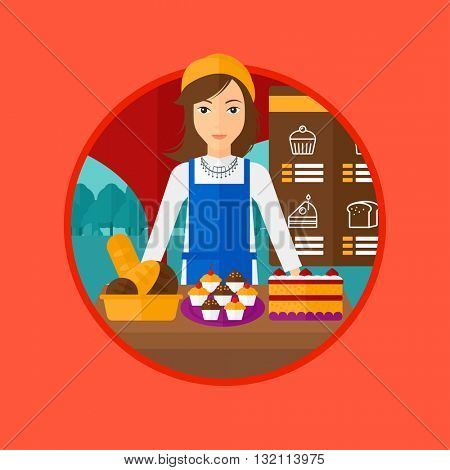 A female bakery worker offering different pastry. A bakery worker standing behind the counter with cakes at the bakery. Vector flat design illustration in the circle isolated on background.