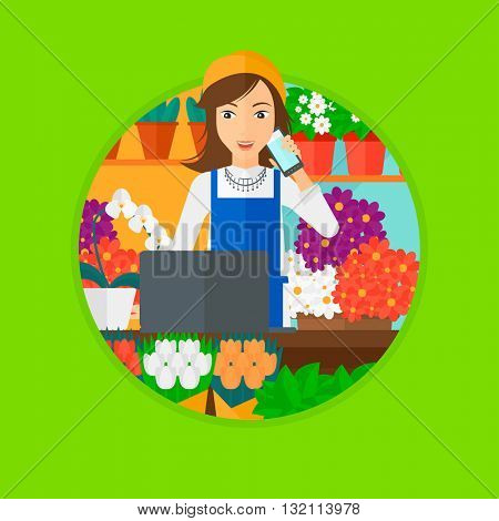 A female florist using telephone and laptop to take orders for flower shop. A florist standing behind the counter at flower shop. Vector flat design illustration in the circle isolated on background.