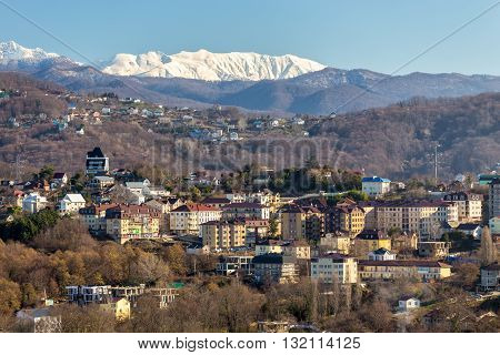 The view on Khosta district of Sochi in the morning sun. Russia