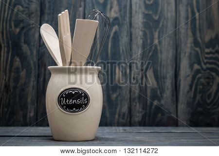 Wooden Kitchen Utensils Like Spoon, Spatula And  Fork
