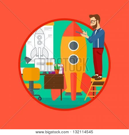 A man standing on ladder and engeneering a rocket. Man working on the startup of new business. Business start up concept. Vector flat design illustration in the circle isolated on background.