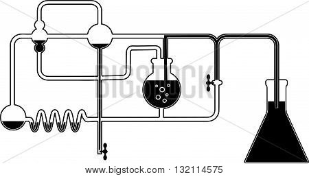 Black and white graphic design element with chemistry set