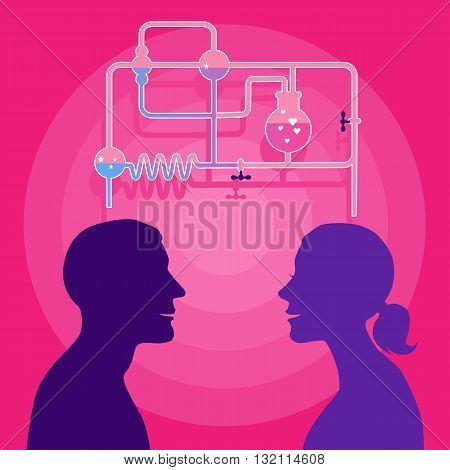 A man and a woman with a chemistry set, a metaphor for love chemistry