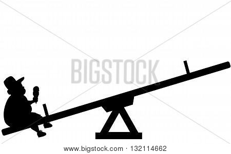 Childhood obesity. Silhouette of an overweight boy sitting alone on a seesaw