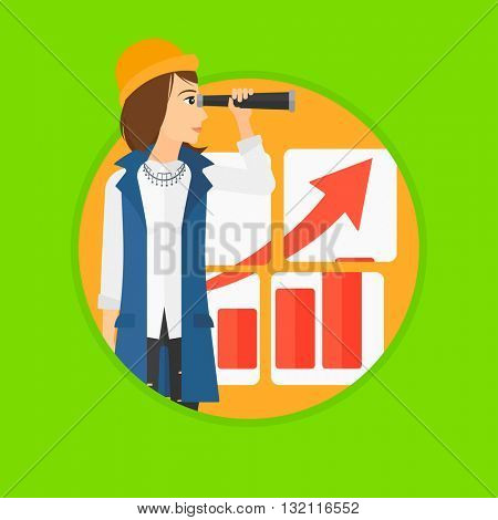 A businesswoman looking through a spyglass at chart. Woman searching the opportunities for business growth. Business growth, vision concept. Business vector flat design illustration in the circle.