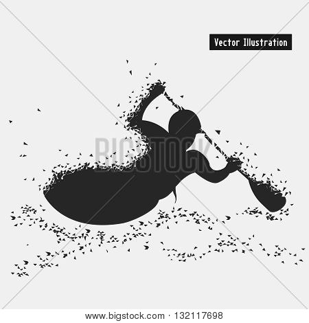 Kayaking. Vector eps10 illusration. Particle divergent composition