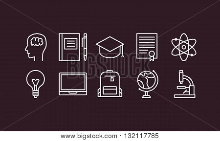 Set of outline education and science icons on dark background head icon notepad icon diploma icon globe icon computer icon microscope icon
