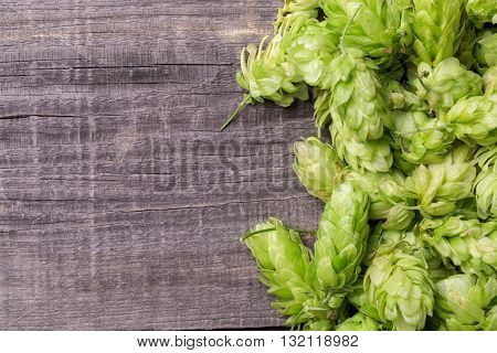 Fresh Green Hops On A Wooden Table