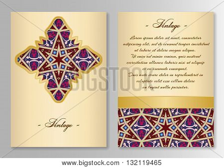Set of brochure, poster templates Vintage style. Vector illustration