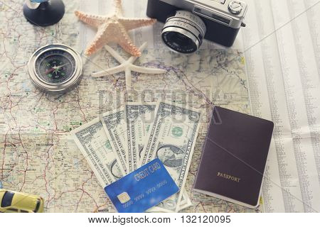 Passport, Compass, Credit Card, Banknote, Globe, Camera, Map, Car And Starfish Figurine For Use As T