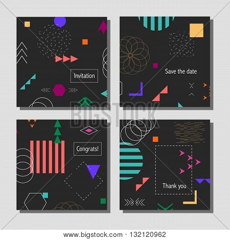 Set of artistic colorful universal cards. Wedding, anniversary, birthday, holiday, party. Design for poster, card, invitation. With golden glitter texture.
