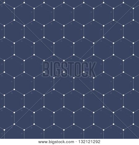 Abstract background with many hexagons with circles on vertexes many connections dots connected with thin lines