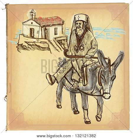 An hand drawn retro vector illustration colored line art. PRIEST. Freehand sketch of an Greece priest sitting on a donkey in front of little church. Hand drawings are editable. Vintage processing.