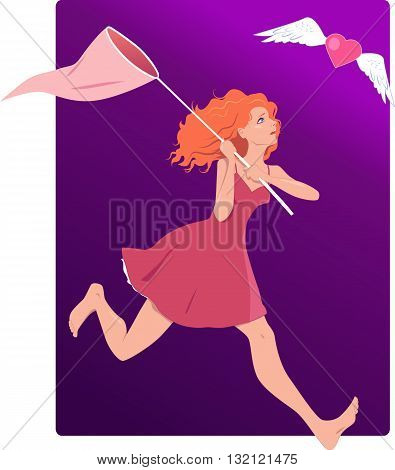 Desperate woman chasing love. Vector illustration with a sad young girl with a butterfly net running after flying heart