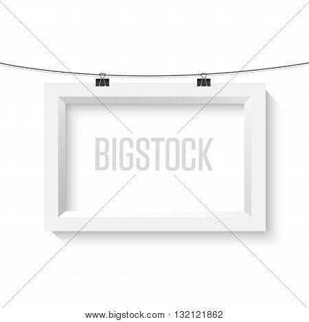 Illustration of Vector Horisontal Poster Frame Mockup. Realistic Vector EPS10 Paper Poster Set Isolated on White Background