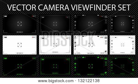 Modern Digital Video Camera Focusing Screen With Settings 12 In 1 Pack. White, Black And Green Viewf