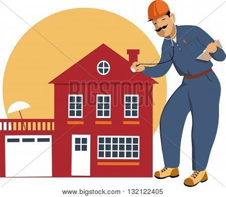 Home inspector examining a building with a stethoscope