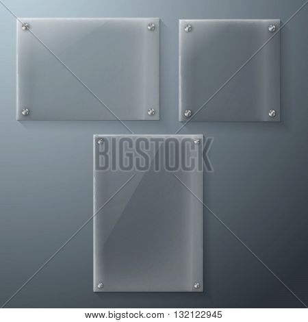 Illustration of Set of Realistic Vector Glass Frame Template. EPS10 Vector Plastic Plate Set