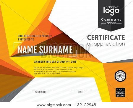 Modern certificate with polygonal background design template