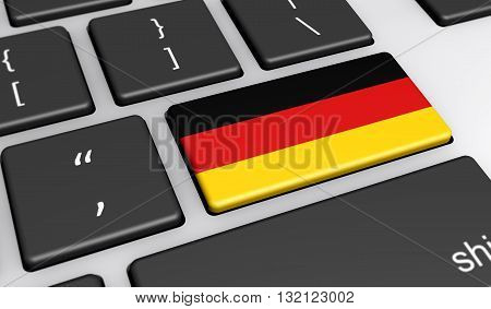 Germany digitalization and use of digital technologies concept with the German flag on a computer key 3d illustration.
