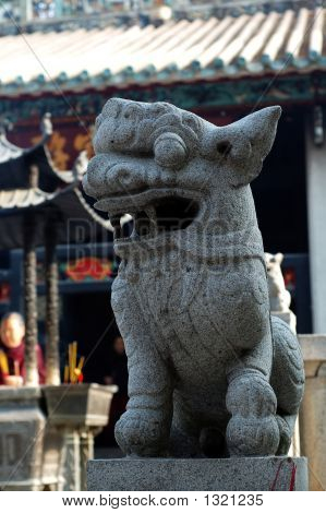 a stone lion of chinese temple kum iam temple macau poster