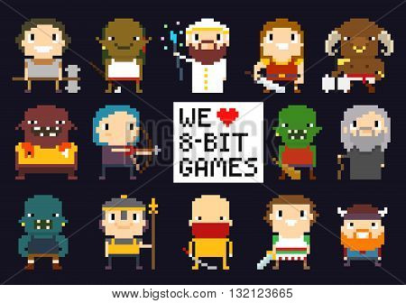 Pixel art characters 8-bit game characters warriors monsters mage sorcerer humans and orcs we love 8-bit games sign