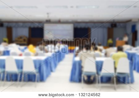 blur blurred abstract at Business conference hall or seminar room with attendee background