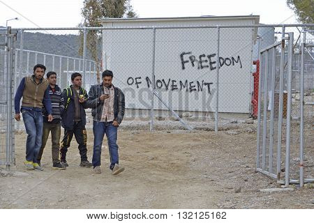 LESVOS GREECE February 24 2016: Words written by refugees and volunteers on walls at the Greek island Lesvos. Hotspot Moria deportation center refugees.